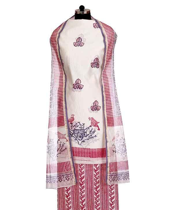 Ruhaniyat by Gunjan Pink Cotton Unstitched Dress Material