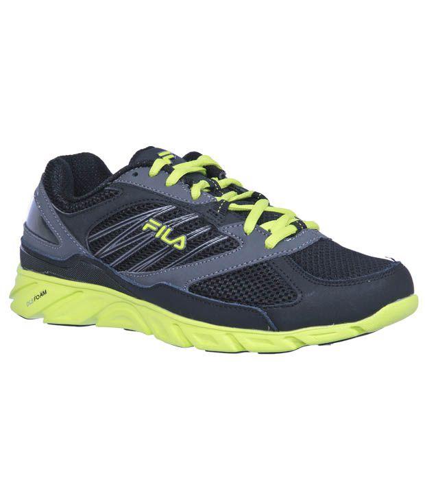 Fila Intrensic Black & Green Running Sports Shoe