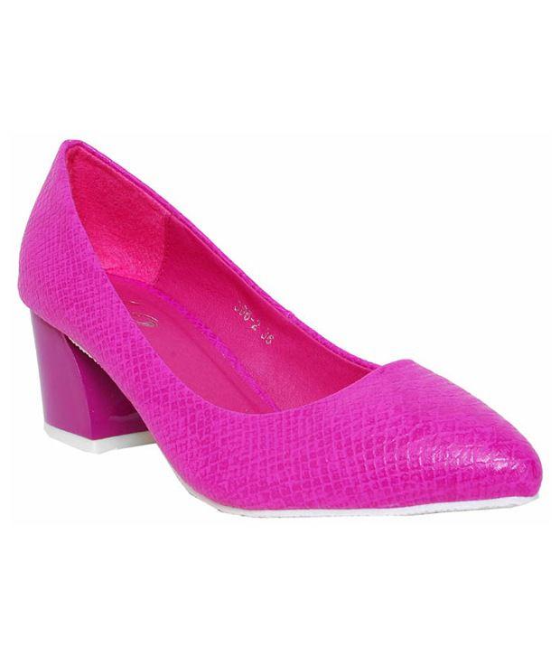 iLO Fuchsia Pink Textured Heel Pumps