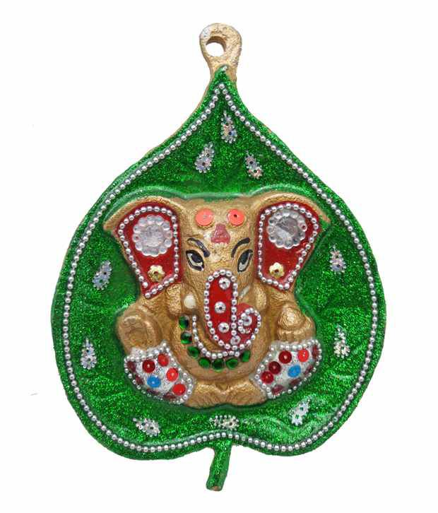 Golmaalshop Colorful Ganesha on Green Leaf
