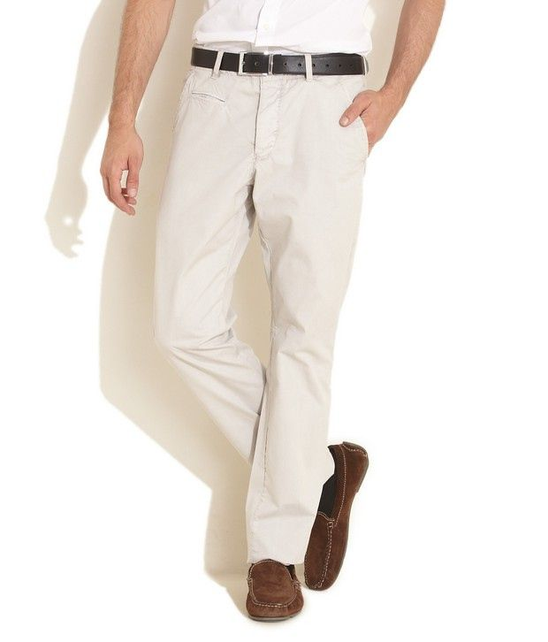 French Connection Cream Trendy Chino Trousers
