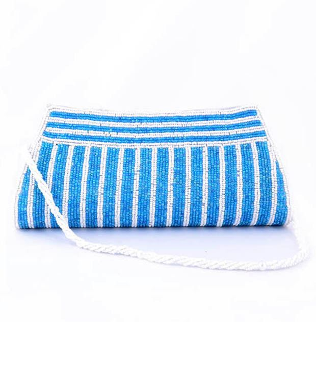 Favola Beads Embellished Clutch - Blue & White