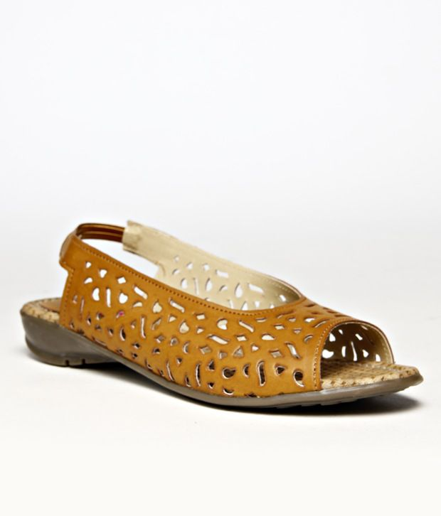Butterfly Mustard Cut Work Flat Sandals