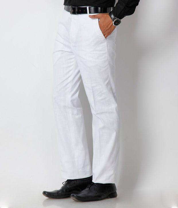Platinum Studio White Formal Trouser