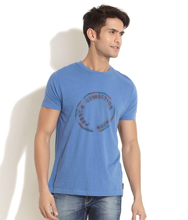 Fcuk Blue Distressed Brand Logo Print T- Shirt