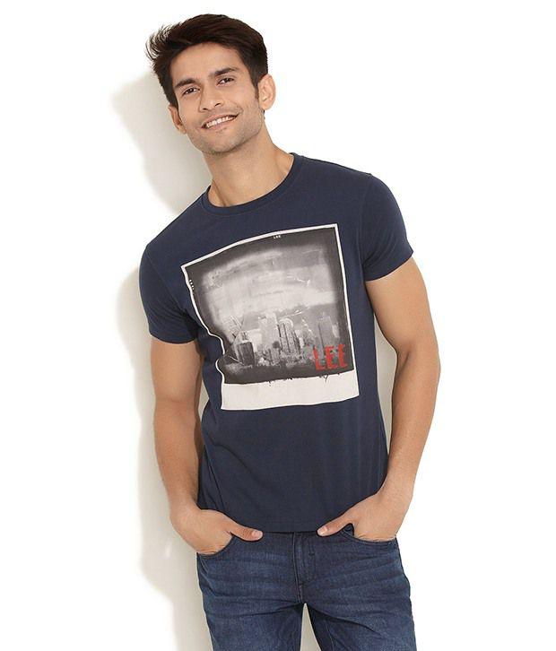 Lee Cooper Originals Medium Blue Vintage Photo  Print T- Shirt