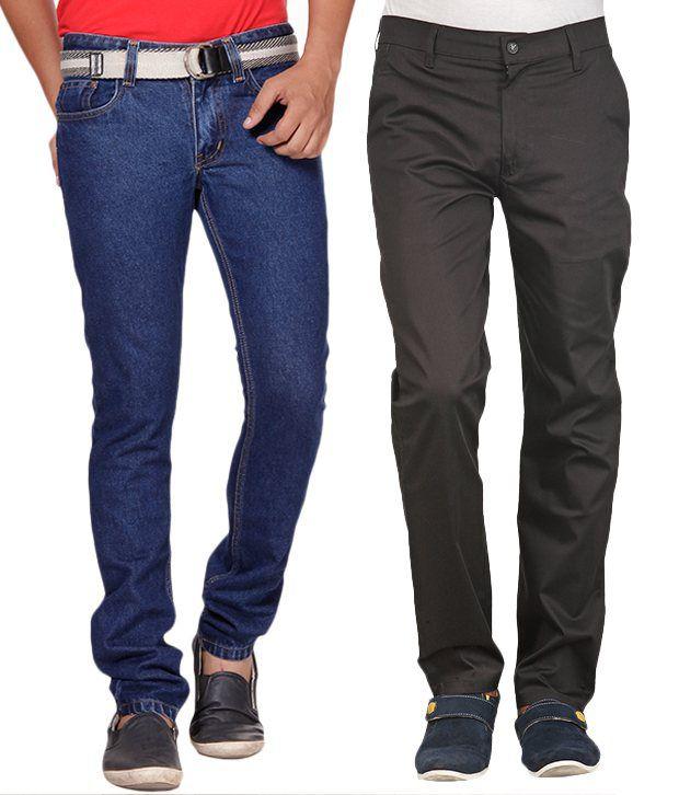 Phoenix Blue Jeans & Black Chinos Combo