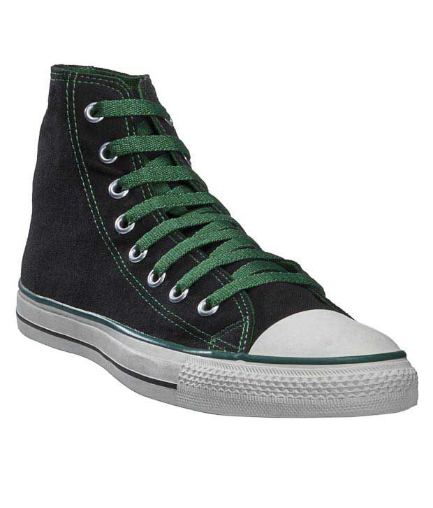 Converse Black  & Green Canvas Shoes