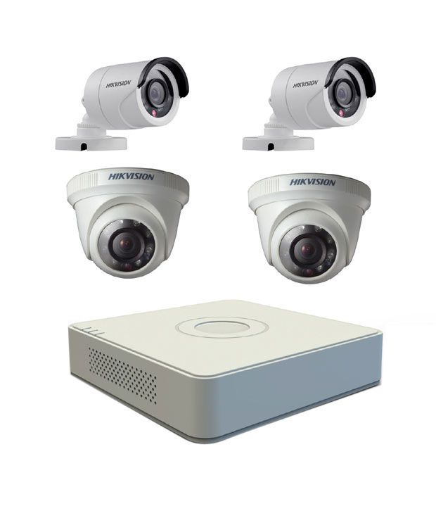Hikvision 4 CH-DVR + 2 Bullet IR + 2 Dome IR-600 TVL Camera CCTV  Surveillance System