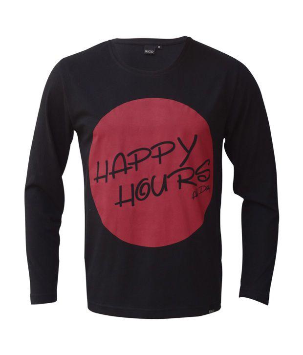 Rigo Black Happy Hours All Day T-Shirt