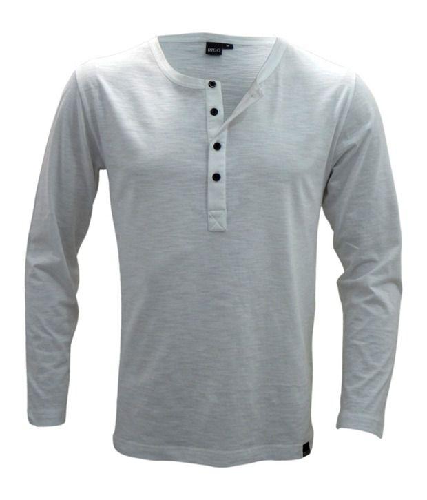 Rigo White Slim Fit Henley T-Shirt