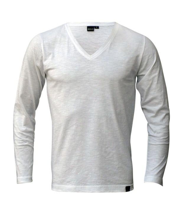 Rigo White Slub Slim V-Neck T-Shirt