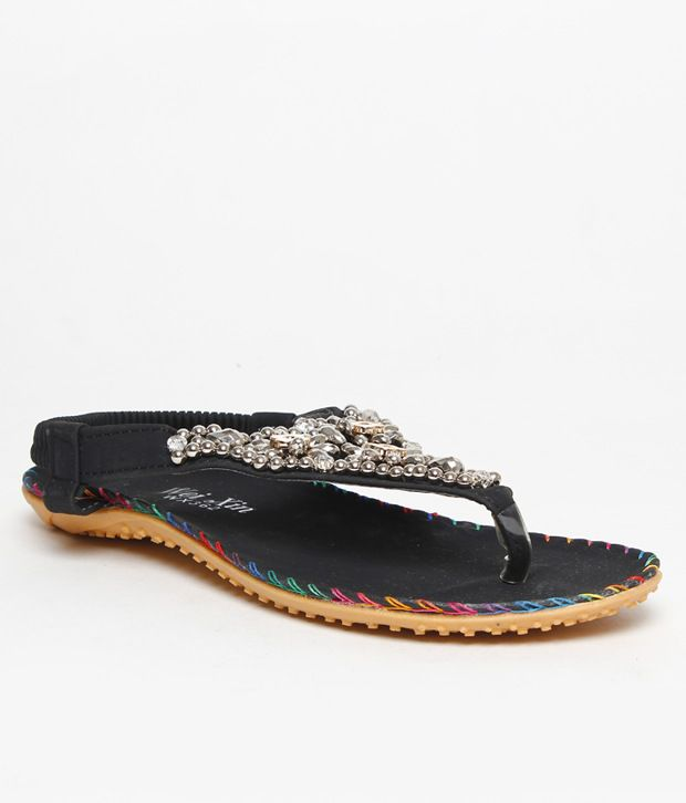FNB-Nell Ethnic Black Flat Sandals