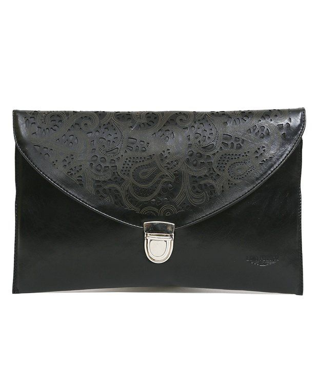 Lino Perros Cutwork Flap Cross Body Sling Bag - Black