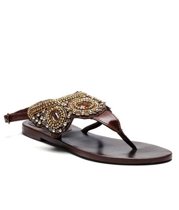 Inara Shelly Brown Flat Sandals