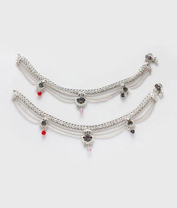 Variation Multi String Silver Plated Anklets