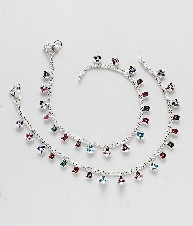 Variation Multi Color Silver Plated Anklets