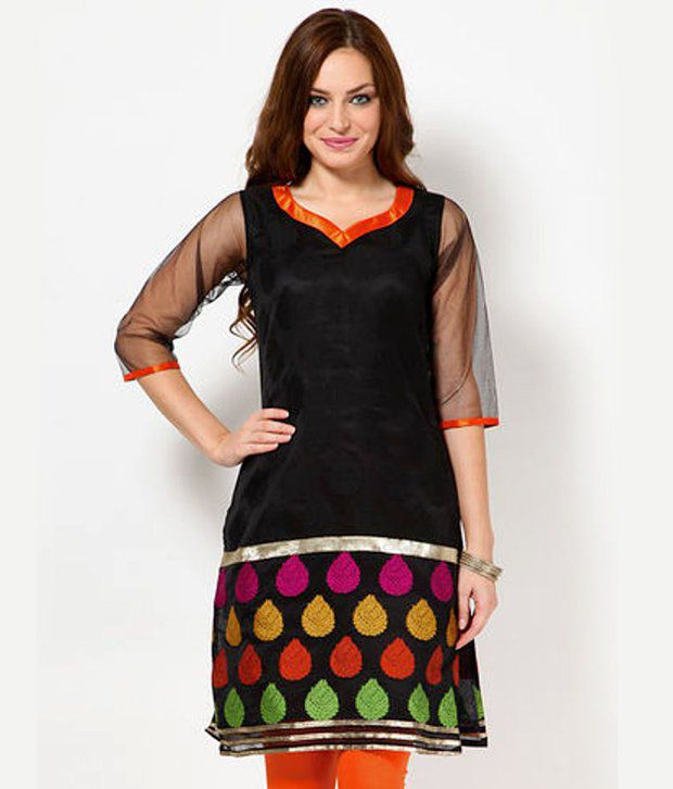 Abhishti Black-Orange Cotton Long Kurti