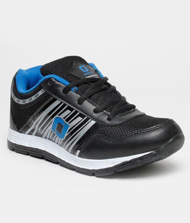 Jaquar Stride Black & Blue Sports Shoes