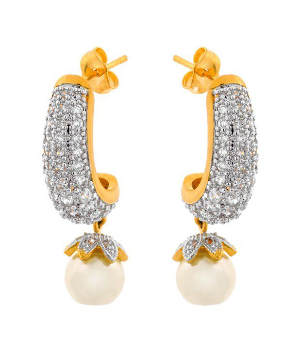 Ilina American Diamond Stylish Pearl Hoop Earrings