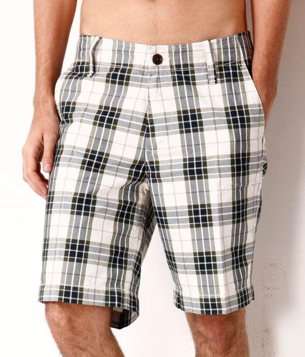 Fahrenheit Cream Checkered Cotton Shorts