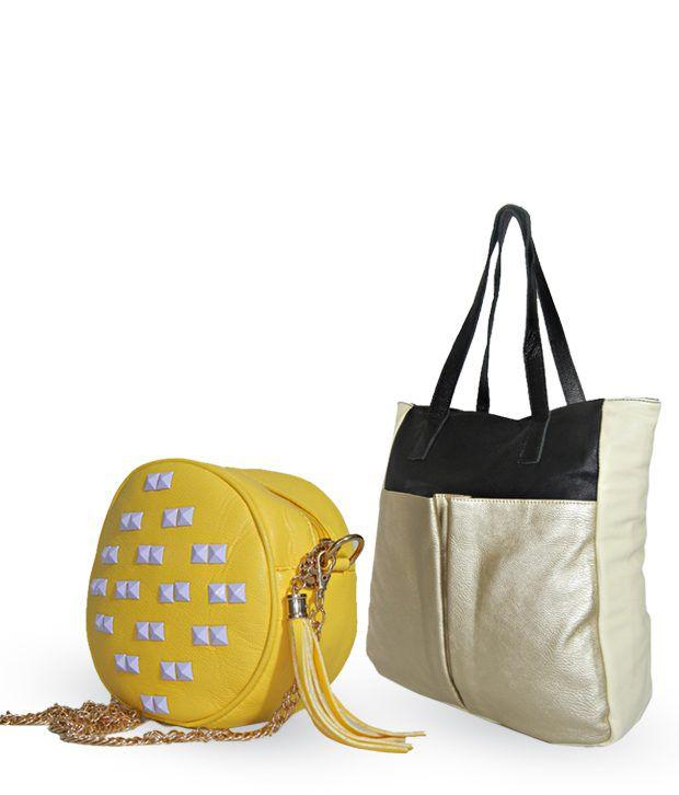 Akriti Golden Shoulder Bag & Yellow Cross Body Sling Bag Combo