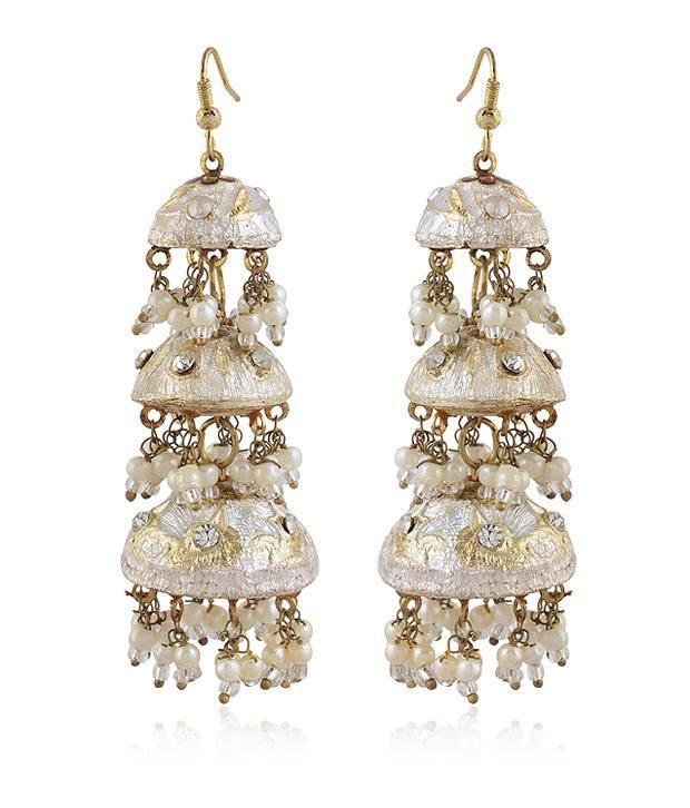 Rajrang Three Dome Silver Lac Earrings