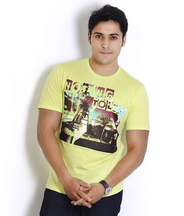 Globus Neon Yellow Printed T Shirt
