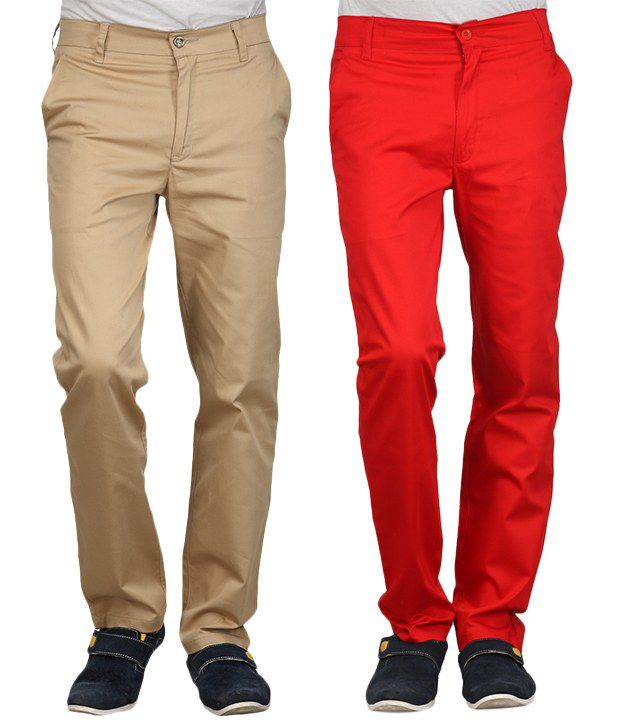 Phoenix Beige-Red Cotton Pack Of 2 Chinos