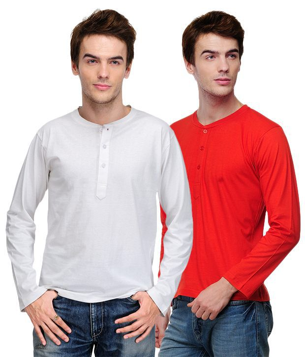 TSX White-Red Pack of 2 Henley T Shirts