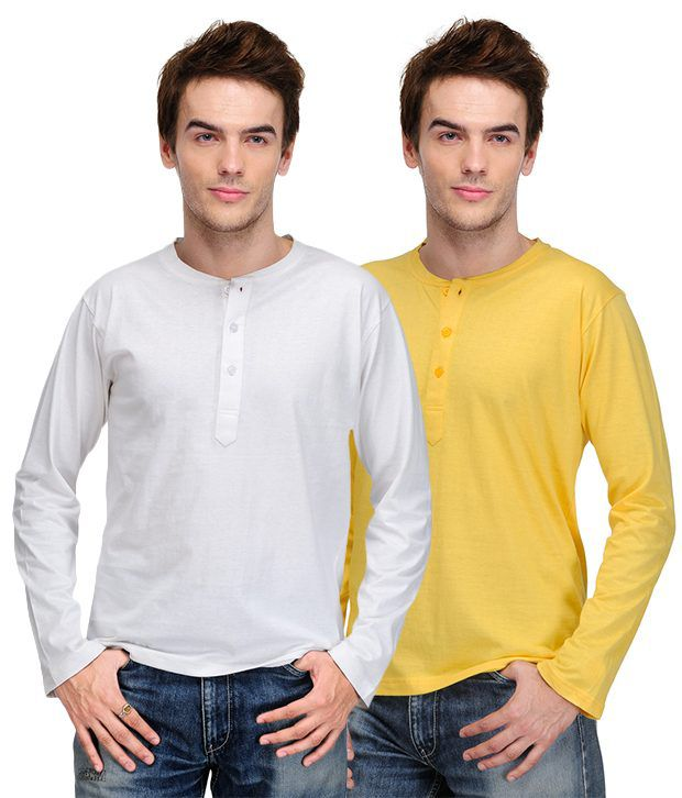 TSX White-Yellow Pack of 2 Henley T Shirts