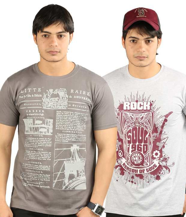 UK Tribes Dark Grey-Grey Pack of 2 T Shirts