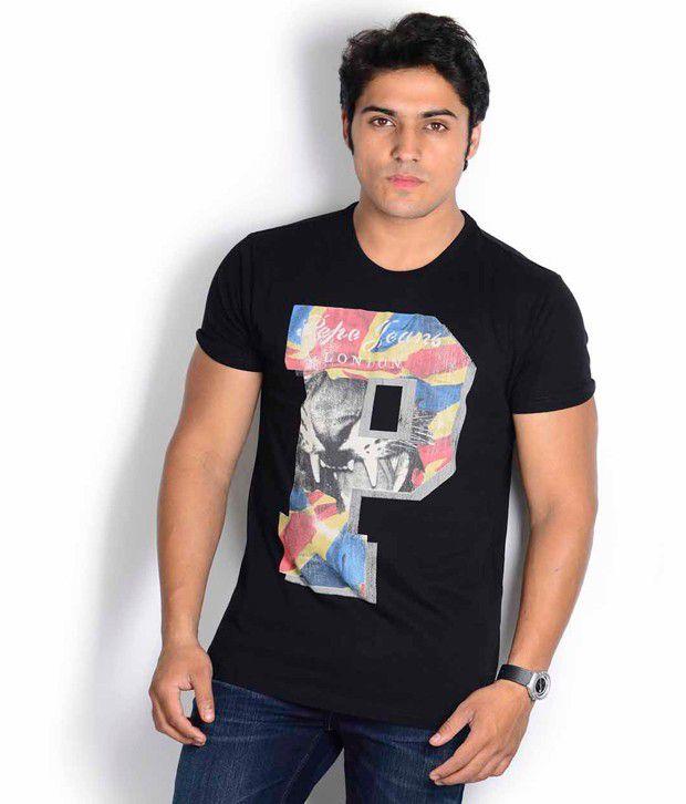 Pepe Jeans Black Printed T Shirt