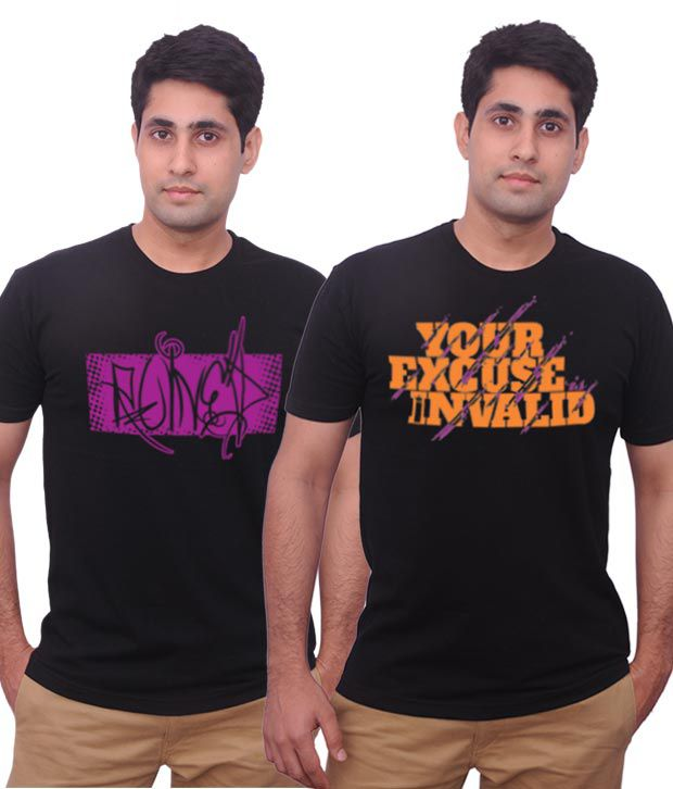 Inkovy Pack Of 2 Smart Black Printed T Shirts