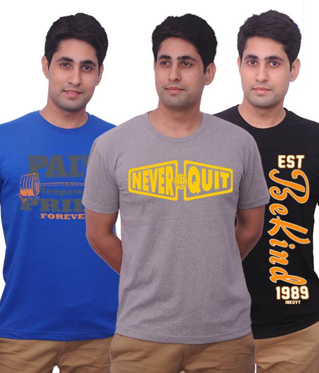 Inkovy Pack Of 3 Trendy Cotton Printed T Shirts