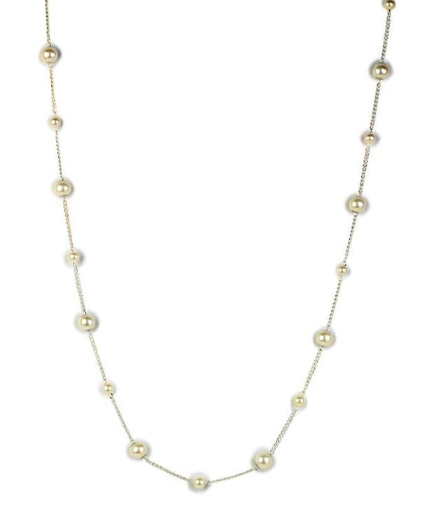 Addons White Pearl Chain Necklace