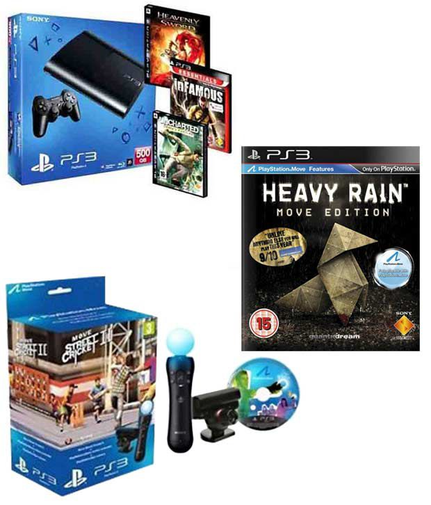 Sony PS3 500GB (with 3 Games Free) Move Starter Pack & Heavy Rain PS3