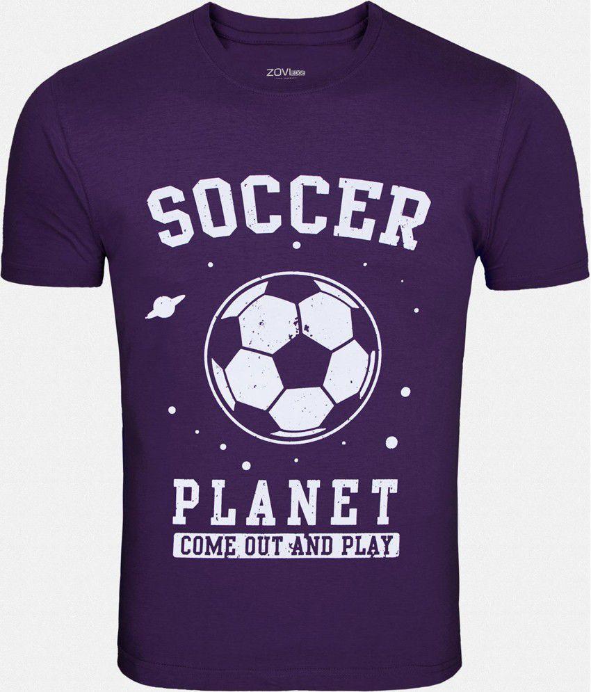 Zovi Soccer Purple Printed Round Neck T Shirt