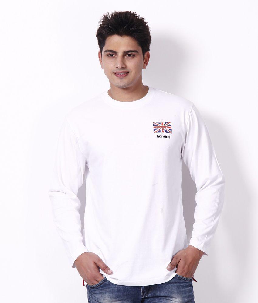 Admiral White Round Neck T Shirt