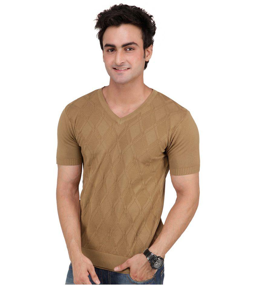 Monteil & Munero Exclusive Cotton Khaki Half Sleeve V-Neck T-Shirt