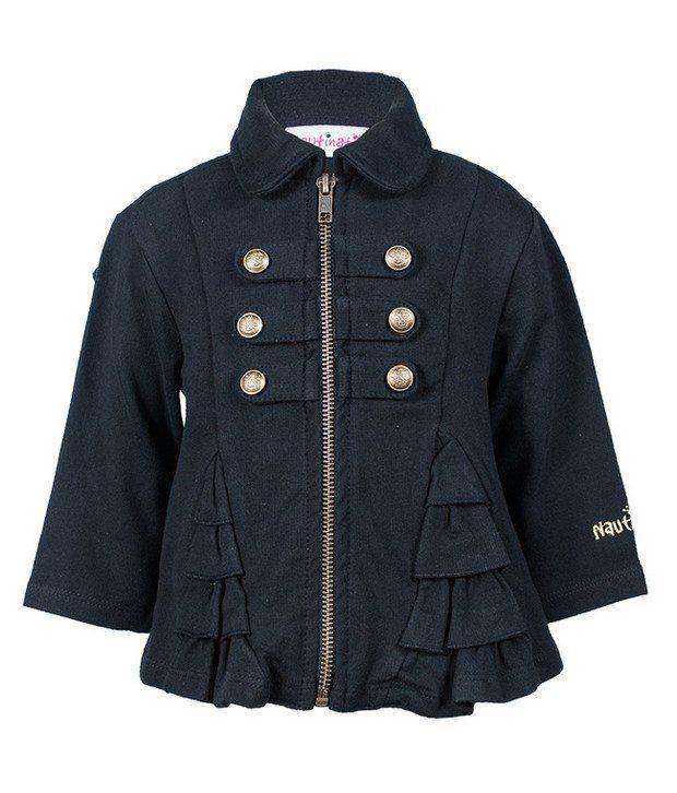 Nauti Nati Black Cotton Fleece Jacket For Kids