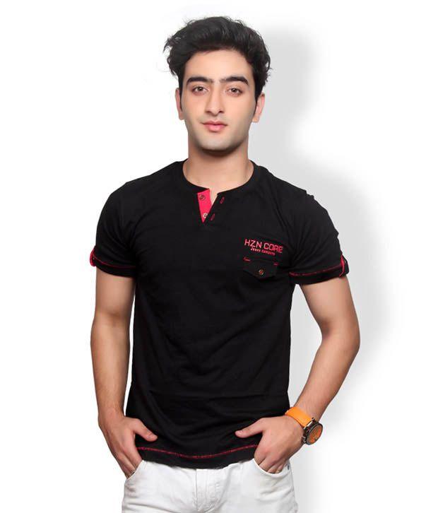 Horizon Casual Wear Black T-Shirt For Men