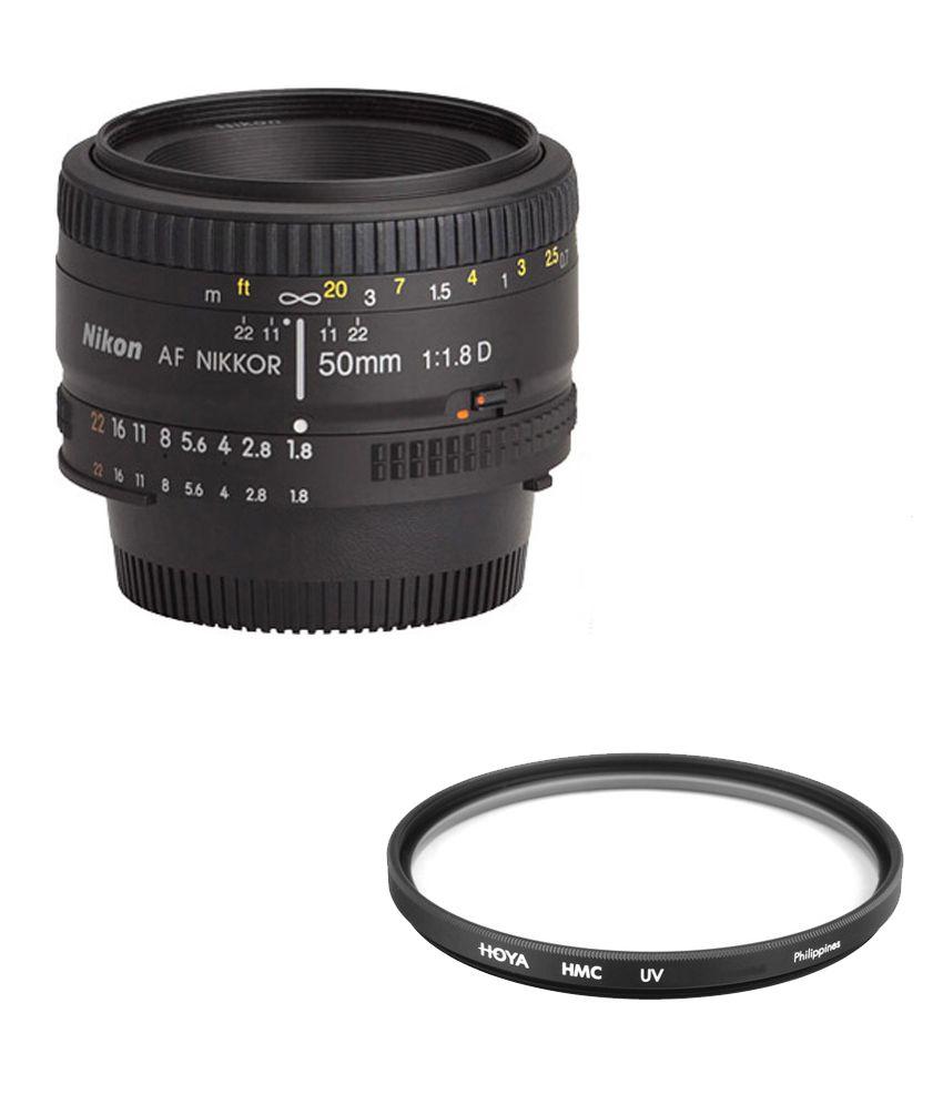 Nikon AF Nikon 50mm F/1.8D Lens + Hoya 52mm UV Lens Filter Combo