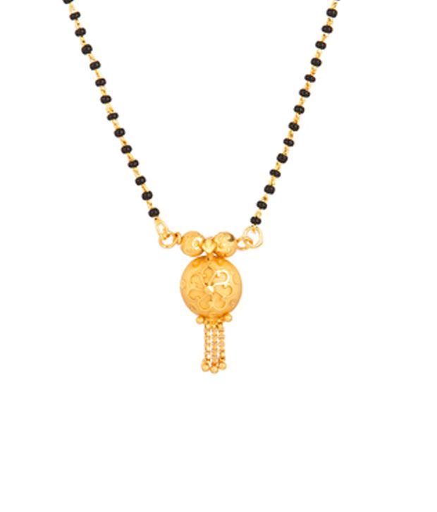 Voylla Single Wati Mangalsutra with Golden Flower Design Wati; Gold Tone
