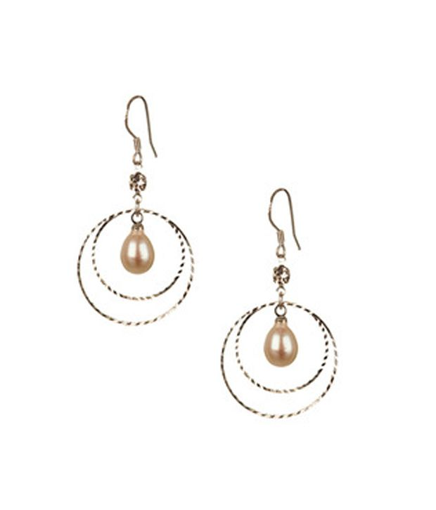 Voylla Elegant Silver Earrings With Pearl Drops