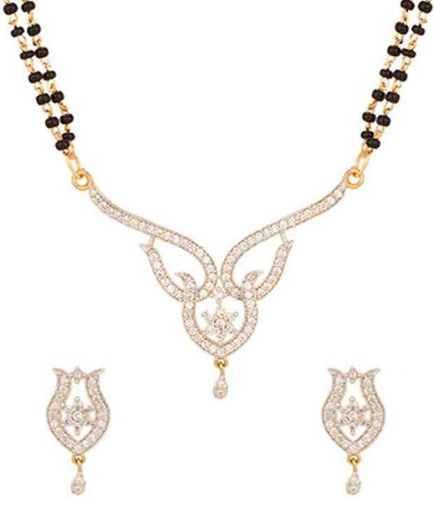 Voylla Double String Glorious Cz Mangalsutra Set With Gold Plating