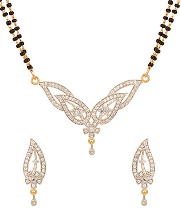 Voylla Double String Gold Plated Mangalsutra Set With Glittering Cz Stones