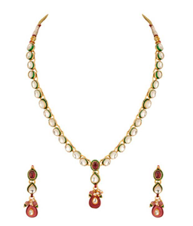 Voylla Necklace Set with Polki Kundan Work; Oval Glass Crystals; Pear Drop