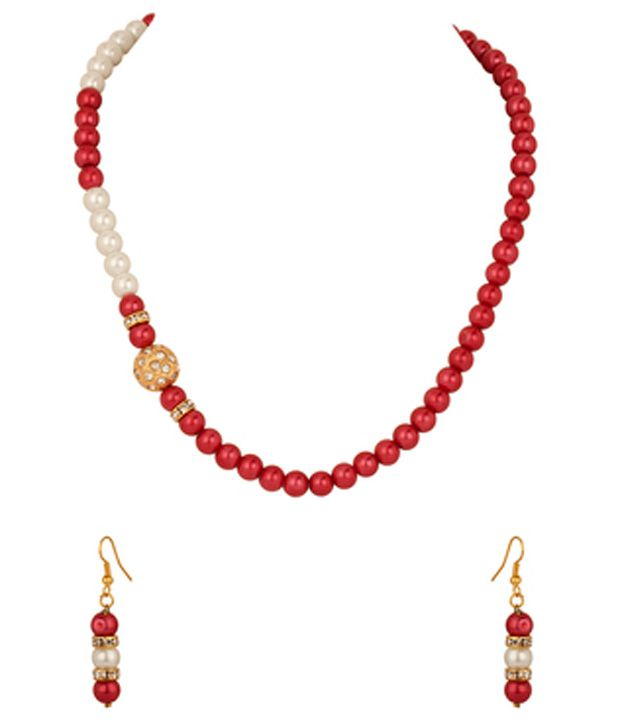 Voylla Necklace Set with Crystal Encrusted Round Dholki; Red Pearls