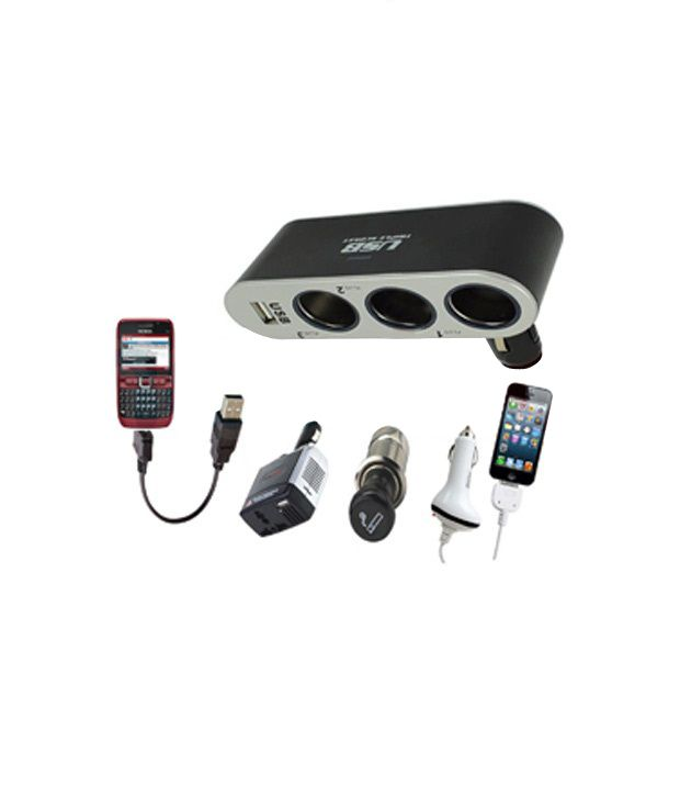 AutoSun - In Car Usb + Triple Socket Charger Adapter